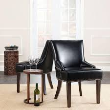 Brown Leather Dining Chairs With Nailheads Safavieh Lotus Black Bicast Leather Side Chair Set Of 2 Mcr4700c