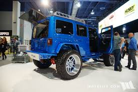 jeep lights on top 2016 sema truck hero blue jeep jk wrangler unlimited