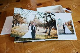 Art Leather Wedding Albums White Leather Wedding Book Or Wedding Album On Wooden Background