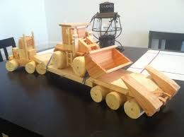 wooden homemade toys tractor low boy trailer and front end