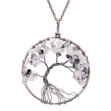 turquoise crystal necklace images Sedmart 7 chakra tree of life pendant necklace copper rose quartz jpg