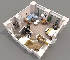 One Bedroom Apartment Plans Studio Townhome 3d Plan Pesquisa Do Google Recamaras