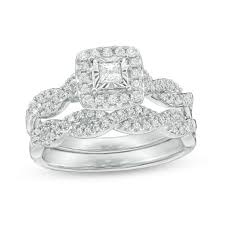 Wedding Set Rings by 5 8 Ct T W Princess Cut Diamond Frame Twist Bridal Set In 10k