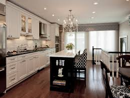 Transitional Kitchen Lighting Wonderful Transitional Kitchen Cabinets With Chandelier And White