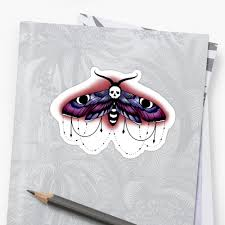neo traditional style moth stickers by sugarthorns redbubble