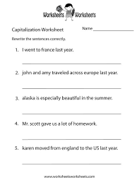 1st grade capitalization and punctuation worksheets worksheets