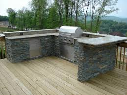 Outdoor Kitchen Ideas Pictures Exterior Inspiring Grey Outdoor Kitchen Barbeque Design Idea