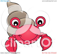 clipart of a cartoon happy hermit crab royalty free vector