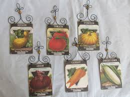 wood seed pack garden themed ornaments vegetables 12pc squash pea