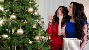 beautiful woman decorate christmas tree stock footage video