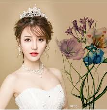 bridal headwear bridal headwear wedding crown necklace three suits and in the