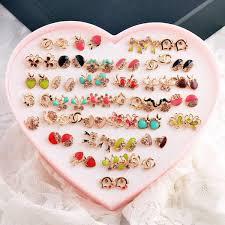 2017 cute candy color paint crystal earrings cz diamond full