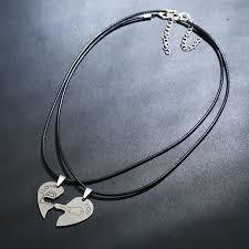 heart key lock necklace images Fashion accessories necklace for men women titanium two half heart jpg