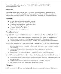Sample Resumes For Mechanical Engineers by Mechanical Sales Engineer Sample Resume Loses Advice Cf