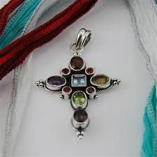 cross stone necklace images Silver and semi precious stones cross pendant jpg