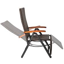 Reclining Folding Chair With Footrest Tectake Relax Chair Polyrattan Aluminium Garden Chair With