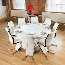 White Dining Room Furniture For Sale - round white gloss dining table lazy susan 8 white u0026 black z chairs