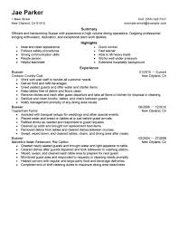 Resume Job Responsibilities Examples by Best Busser Resume Example Livecareer