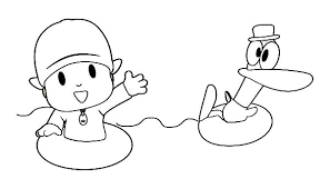 pocoyo swimming pato coloring color luna