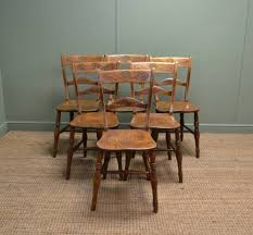 Victorian Kitchen Furniture Set Of Six Victorian Elm Antique Country Kitchen Chairs 255815