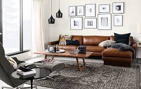 room and board leather sofa hess sofa with chaise in lecco leather modern living room