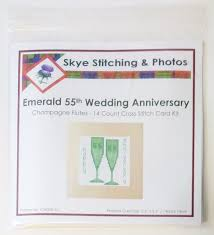 55th wedding anniversary 55th emerald wedding anniversary cross stitch card kit