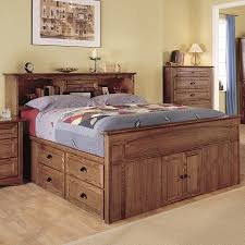 Wooden Beds With Drawers Underneath Bedroom Captain Style Queen Size Wood Bed With Drawers And