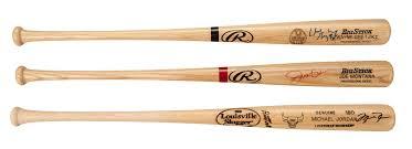 lot detail lot of 3 sports legends signed baseball bats