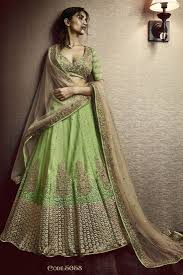 light green color net fabric heavy embroidery designer bridal lehenga saree in light