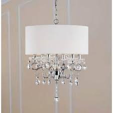 Chandelier With White Shade Allured Crystal Chandelier With Translucent Fabric Shade Free