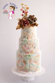 wedding cake gum wedding cake with drapes and two tone gum paste roses veena azmanov