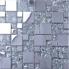 Aliexpresscom  Buy Light Gray Glass Mixed Silver Stainless Steel - Silver backsplash