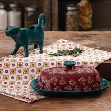 the pioneer woman fall flowers butter dish and cow creamer