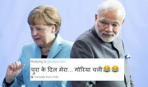 Hindi Meme Jokes - narendra modi and angela merkel handshake jokes is a pass礬 the