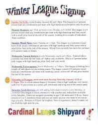cardinal lanes shipyard new winter league schedule and tournament