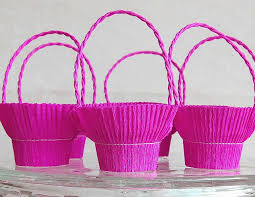 easy basket for sweets crepe paper and recycle plastic glass