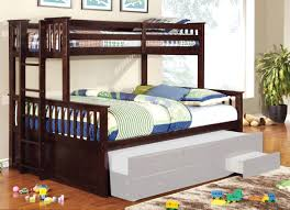 Bunk Bed With Crib On Bottom by University Dark Walnut Wood Twin Queen Bunk Bed Trundle Not