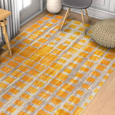 Mid Century Modern Rug Ebern Designs Angie Mid Century Modern Yellow Area Rug Reviews