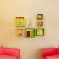 6 nesting square wall shelves rack unit green u0026 orange
