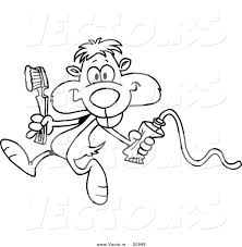 vector of a cartoon dental gopher coloring page outline by