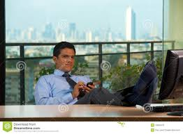 Office View by Successful Latino Businessman Office With View Stock Images