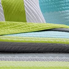 girls twin size coverlet quilt set teal blue green striped bedding