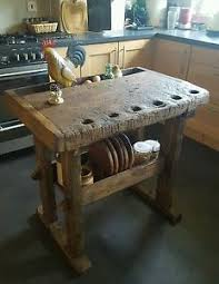 Kitchen Island Butcher Block Solid Oak Antique Carpenters Workbench Kitchen Island Butchers