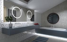 fancy guest grey bathrooms designs with grey floating vanity added