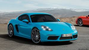 miami blue porsche boxster 4 2s 350hp 2017 porsche 718 caymans revealed boosted boxer fours