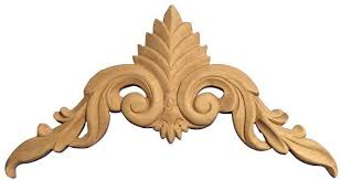 wooden scrolls for cabinets 8 1 8 h x 15 7 8 w x 5 8 d large crown applique cartouche