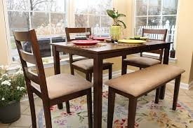 dining room table sets with bench amazon com 5pc dining dinette table chairs u0026 bench set walnut