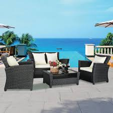 4 pcs rattan wicker patio sofa set outdoor furniture sets