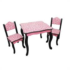 teamson kids table and chair sets in black and pink leopard td