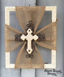 Home Decor Trim by Ceramic Cross Burlap Trim Wood Frame Home Decor Rustic
